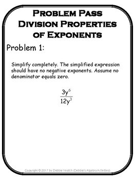 Division Properties of Exponents Problem Pass Activity