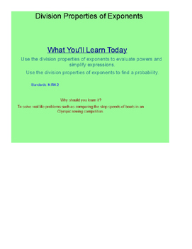 Division Property of Exponents SmartBoard Lesson