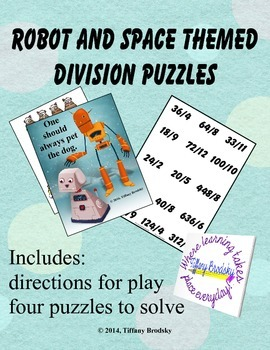 Division Puzzles with Robot and Space Theme