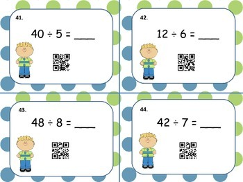 Division QR Code Flashcards (60 self-checking task cards with answer key)