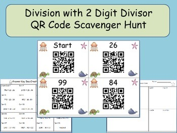 Division QR Code Scavenger Hunt: Four Digit Dividend and Two Digit Divisor