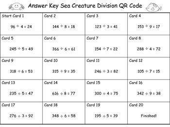 Division QR Code Scavenger Hunt: Three Digit Dividend and One Digit Divisor