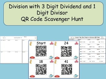 Division QR Code Scavenger Hunt: Three Digit Dividend and