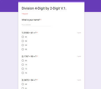 Division Quiz Bundle with Google Forms