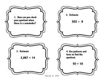 Division Review Task Cards