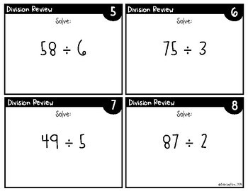 Division Review Task Cards (2, 3, and 4 digits divided by 1 digit)