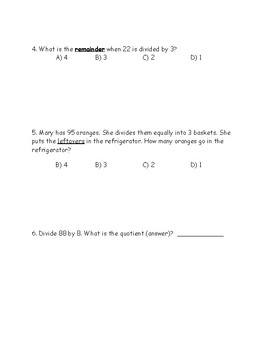 Division Review (Word Problems, Long Division, & Odd/Even)