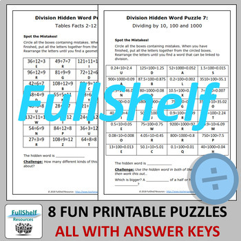 Division Review Worksheets (Puzzles) by FullShelf Resources | TpT