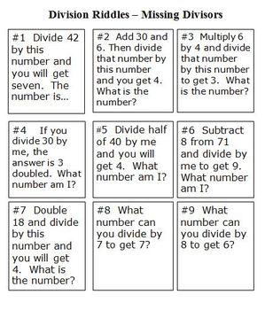 division riddles by math fun atic teachers pay teachers. Black Bedroom Furniture Sets. Home Design Ideas