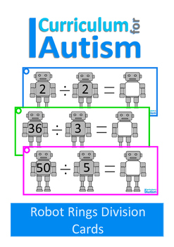 Times Table Division Facts Robots Theme Autism Special Education