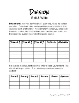 Division Roll & Write Game