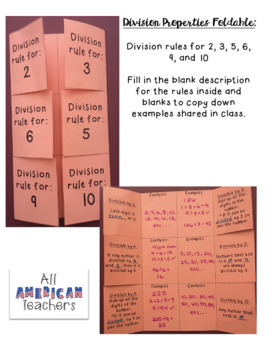 Division Rules Foldable