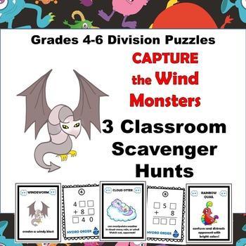 Division Scavenger Hunt Logic Puzzles grades 4-6