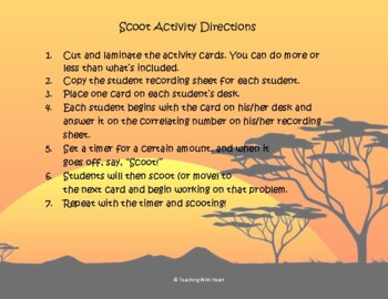Division Scoot Activity/Task Cards - 2 digit by 1 digit - No Remainders