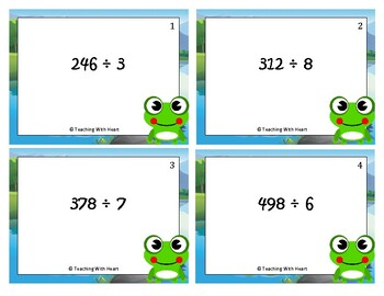 Division Task Cards - 3 digit by 1 digit - No Remainders