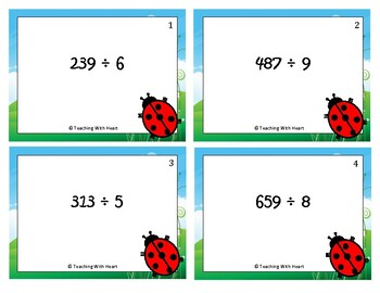 Division Scoot Activity/Task Cards - 3 digit by 1 digit - With Remainders