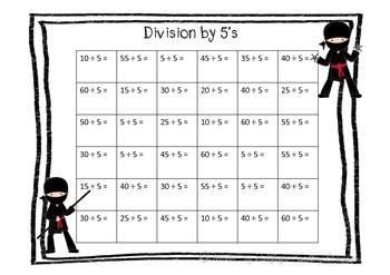 Division Scoot + Worksheets- Ninja themed Pack