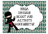 Division Scoot + Worksheets- Ninja themed Pack
