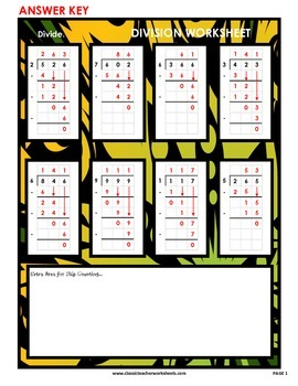 Division 3-Digit by 1-Digit (Set #1) - No Remainders -Grades 5-6 (5th-6th Grade)