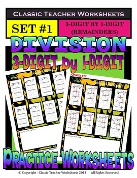 Division 3-Digit by 1-Digit (Set #1) - Remainders - Grades 5-6 (5th-6th Grade)