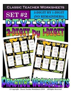 Division 2-Digit by 1-Digit (Set #2) - No Remainders- Grad