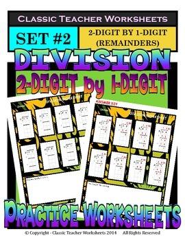 Division 2-Digit by 1-Digit (Set #2) - Remainders - Grades