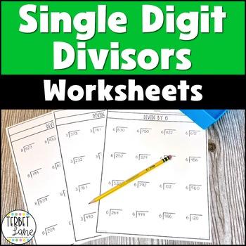 Division Practice Worksheets- Single Digit Divisor