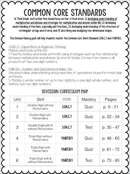 Division Single Digit Fluency Pack: Third Grade