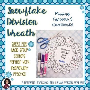 Division Snowflake Winter Wreath Activity