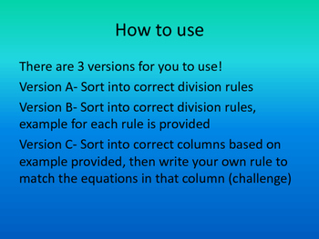 Division Sort with 1 and 0