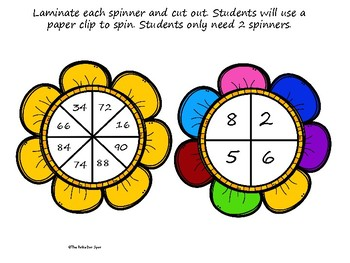 Division Spinner Game- 2 Digit by 1 Digit