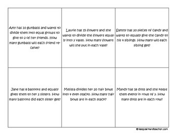 Division Stories / Situations Task Cards (division word problems)
