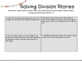 Division Stories- Writing and Practicing Division Word Problems