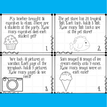 Division Story Problem Task Cards