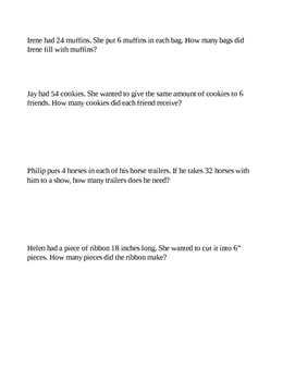 Division Story Problems Practice