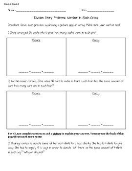 Division Story Problems Worksheet