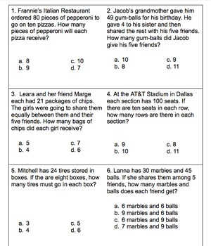 Division Story/Word Practice Task Cards Set 1 Grades 3-5 STAAR/Common Core