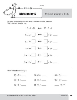 Division Strategies, Grades 4-6+: Division by 5