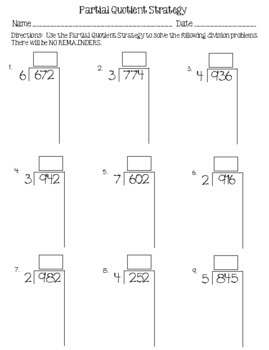 Division Strategies:  Partial Quotient Strategy Fold-Up & Practice