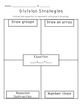 Division Strategies Worksheet