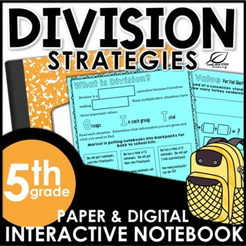 Division Strategies Interactive Math Notebook Set