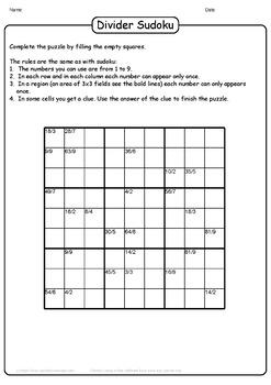 Division Sudoku Puzzles - 25 Unique Division Sudoku Puzzles Bundle