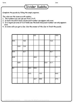 Division Sudoku Puzzles - 25 Unique Division Sudoku Puzzles Collection