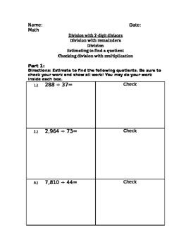 Division TEST with 2-digit divisors!! WITH ANSWER KEY