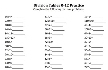 Division Tables Practice for Multiples of 1-12
