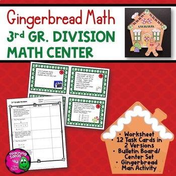 Division Task Card Math Center & Gingerbread House Art Activity 3rd Grade