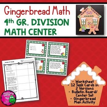 Division Task Card Math Center & Gingerbread House Art Activity 4th Grade