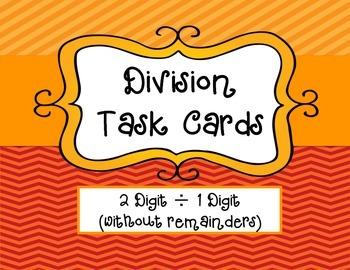 Division Task Cards: 2 Digit ÷ 1 Digit