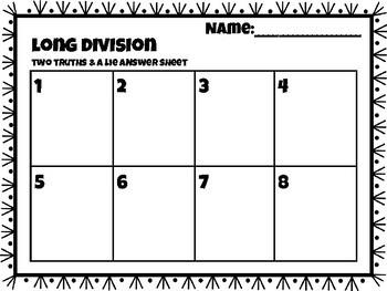 Division Task Cards: 2 Truths & A Lie