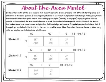 Area Model Division with 1 Digit Divisors Task Cards by ...